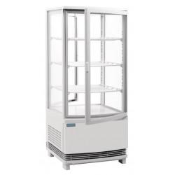 Koelvitrine met gebogen glasdeur 86 liter wit