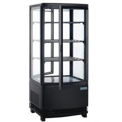 Koelvitrine met gebogen glasdeur 86 liter zwart
