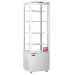 Koelvitrine met gebogen glasdeur 235 liter wit