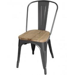 Stalen stoel met houten zitting grijs (4 stuks)
