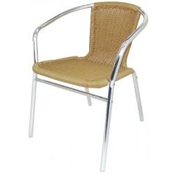 Aluminium en Rotan stoel naturel (4 stuks)