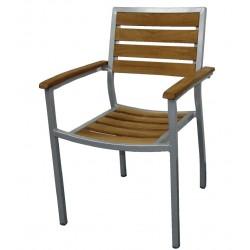 Aluminium en teak stoel (4 stuks)