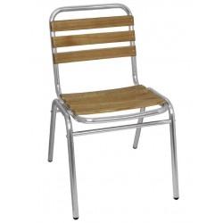 Aluminium en essenhouten stoel (4 stuks)