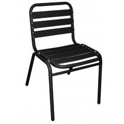 Stapelbare aluminium stoel zwart (4 stuks)