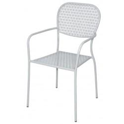 Stalen bistro stoel met armleuning wit (4 stuks)