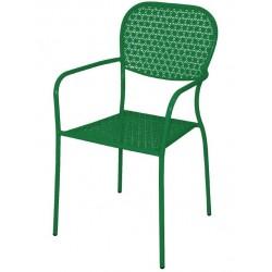 Stalen bistro stoel met armleuning groen (4 stuks)