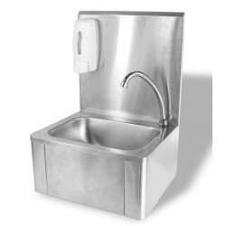 Wasbak met kniebediening en zeepdispenser